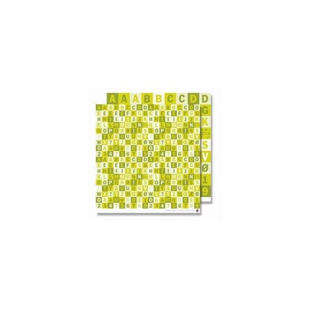 Karen Marie Klip: Scrapbookingark - Alfabetark grøn